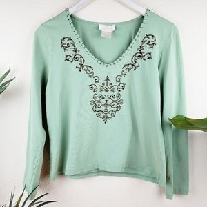 Soft Surroundings Boho Embroidered Beaded Top